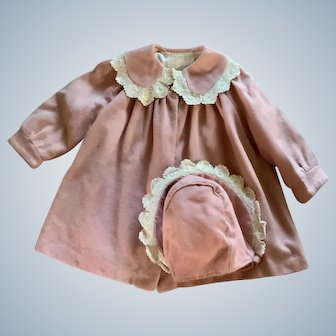 1940's Toddler Pink Wool Coat and Bonnet with Lace Trim