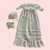 White Flannel Doll Nightgown, Bonnet, and Booties