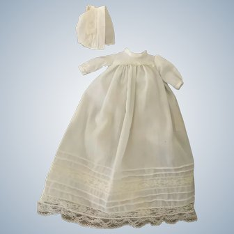 Christening Gown with Bonnet for Bye-Lo or Small Doll