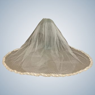 """Exquisite 24"""" Ecru Lace Veil or Train for Doll"""