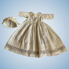 White Doll Dress with Tucks and Lace