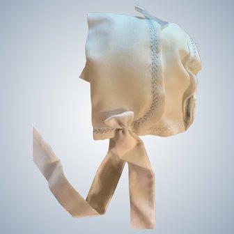 Snowy White Handkerchief Bonnet for Doll