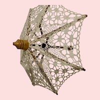 Ecru Crochet Lace Parasol for Doll