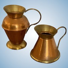 Pair of Miniature Copper Pitchers