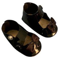 "Vintage 1 3/4"" Black Patent Leather Side Snap Doll Shoes"