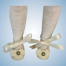 Vintage White Felt Doll Shoes with Socks