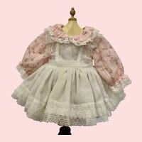 Lovely Pink Dimity Dress with Pinafore for Vintage Doll