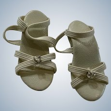 Beige Strappy Heels for Small Fashion Doll