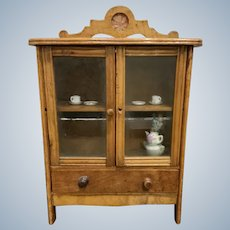 Antique Walnut Doll China Cabinet, As Found