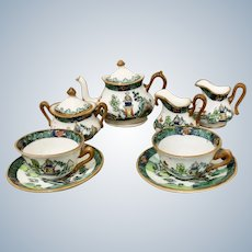 Miniature Doll Hand-painted China Tea Set by Crown Staffs, England