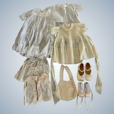 8 Piece Lot of Vintage Baby Clothes & Shoes for Antique Doll / Collectors