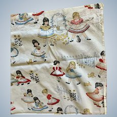 Delightful Vintage Cotton Fabric for Child or Doll Quilt, Playhouse, Curtains, Upholstery