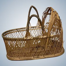 "Vintage Open Weave Diamond Pattern Moses Basket for 6"" - 9"" Baby Doll"