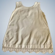 Lovely Vintage Cotton Linen Slip with Crocheted Lace Trim For Large Doll
