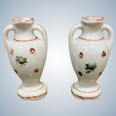 Pair of 1930's Miniature Porcelain Urns With Handles for Dollhouse Made in Japan