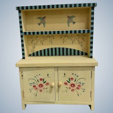 Cheerful Vintage Yellow Doll Dresser With Hutch is Pennsylvania Dutch Style