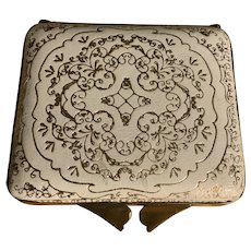 Gold Embossed White Leather Vintage Compact