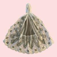 Elegant White Valenciennes Lace Veil with Cap
