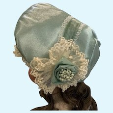 Luxurious Seafoam Satin and Lace Bonnet