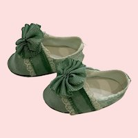 Luxurious Seafoam Satin and Cream Lace Doll Shoes