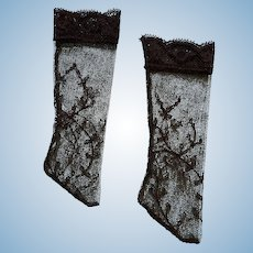 """Exquisite Handmade Black Lace Stockings for Antique Doll 1.5"""" Foot"""