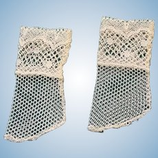 """Exquisite Handmade Cream Lace Stockings for Antique Doll 1"""" Foot"""
