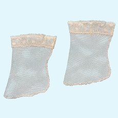 """Exquisite Handmade Cream Lace Stockings for French German  Doll 2"""" Foot"""