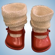 Red Fairyland No. 00 Vinyl Mary Jane Shoes with Silky Socks for R&B Littlest Angel