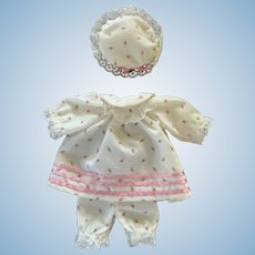 Adorable Rosebud Print Nightgown, Bloomers, and Night Cap for Small Doll