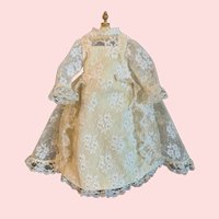 """Stunning Cream Lace Dress with Pearl Accents for 14"""" Bru Bisque Doll"""
