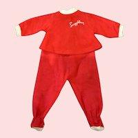 "Red Flannel 2-Piece Footie Pajamas for 1965 Remco 16"" Snugglebun Doll"