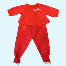 "Red Flannel 2-Piece Footie Pajamas for 1965 Remco 16"" Snugglebun Doll"