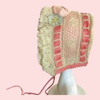Tiny Lace and Silk Handsewn Bonnet is Rare and Beautiful