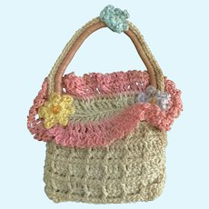 "Vintage Ecru & Pastel Crochet Doll Purse 2"" x 2"" is Adorable"