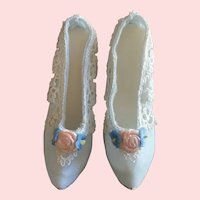 Blue Taffeta and Lace Pumps for French Fashion or Boudoir Doll