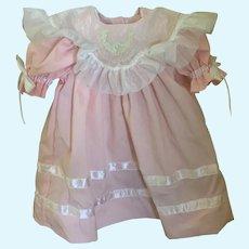 "Pink Cotton Doll Dress with Organdy Collar by Strasburg Children 2000 for 18"" Dolls"