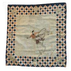 """Pre-1920 Antique Western Cowboy Handkerchief with Swastika """"Let 'er Buck"""" is Unique"""