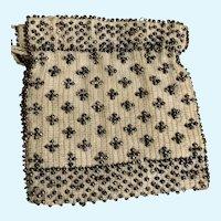 Vintage Beaded Drawstring Doll Purse / Handbag for French German Fashion