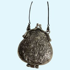 Intricate Tibetan Silver Pear-Shaped Purse / Handbag for French German Doll