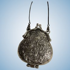 Intricate Tibetan Silver Pear-Shaped Purse / Handbag for French German Doll