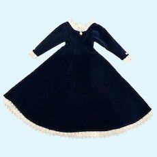 Simple and Elegant Blue Velvet Gown for French German Large China or Fashion Doll