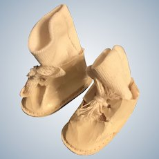 "Vintage Shiny Cream Canvas Doll Shoes with Original Socks for 1.75"" Foot"