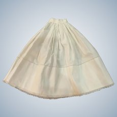 Beautiful Old White Cotton Linen Half-Slip with Great Detail for French German Bisque Doll