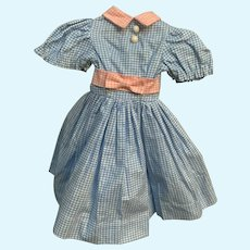 Sweet Blue and Pink Gingham Factory Dress is Made in Hong Kong