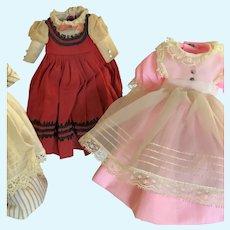 """Three Original Madame Alexander 8"""" Doll Dresses"""