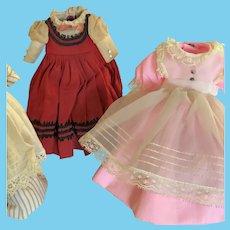 "Trio of Original Dresses for 1960's Madame Alexander 8"" Little Women Dolls Meg, Beth, and Jo"