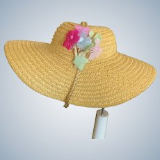"Beautiful Vintage Madame Alexander Straw Hat with Flowers for 8"" Alexanderkin"