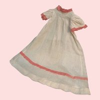 """Sweet Vintage Dimity Gown with Lace Trim for 10""""-12"""" French German Doll"""