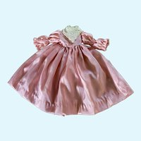 Vintage Pale Pink Taffeta Dress with Lace for Small French German Bisque China