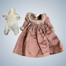 Vintage Victorian-style Embossed Taffeta Dress for Tiny Bisque Doll